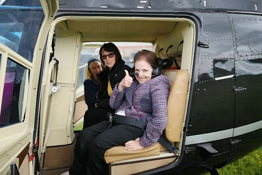 Adele preparing for her helicopter ride.