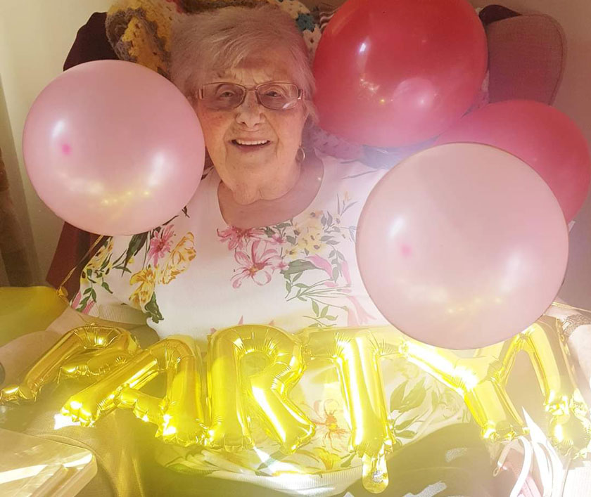 Irene celebrating her 100th birthday
