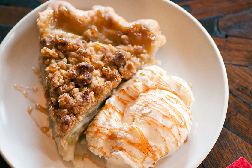 Luxury apple pie and ice cream