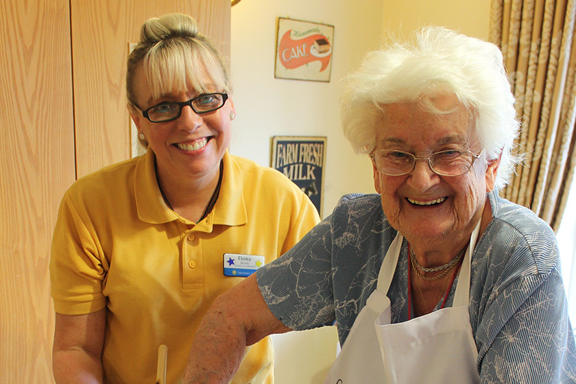 Activities leader Fiona Morsy with care home resident Dot Lucas
