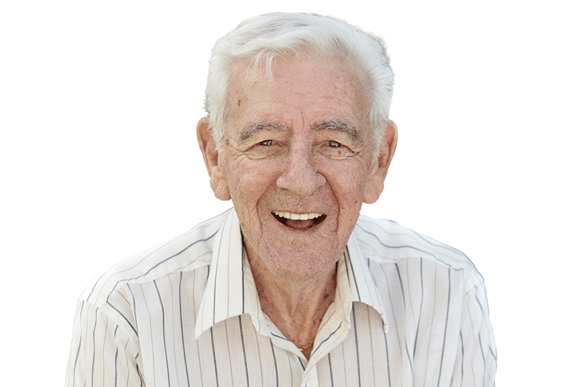 An elderly man smiles