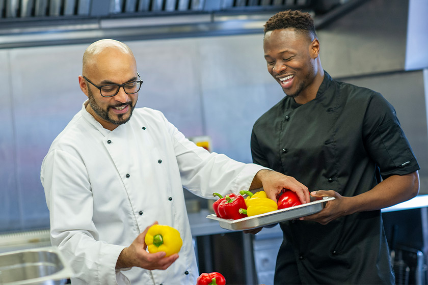 Sanctuary Care chefs choosing peppers