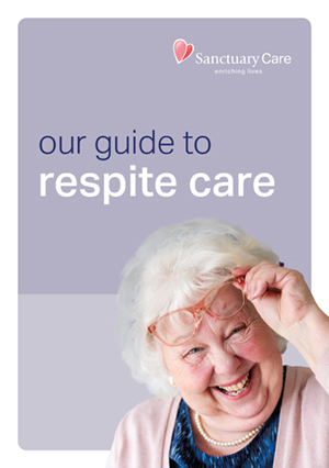 Elderly female resident on the front cover of our guide to respite care