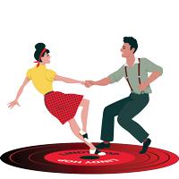 1940s vector of people dancing