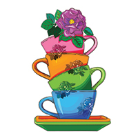 A stack of teacups in different colours