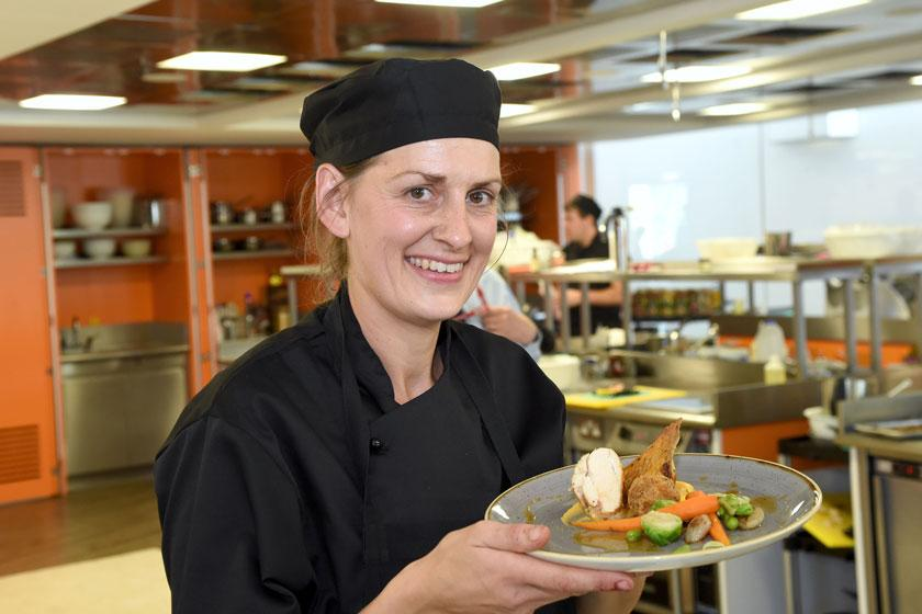 Sanctuary Care chef Verity with one of her dishes