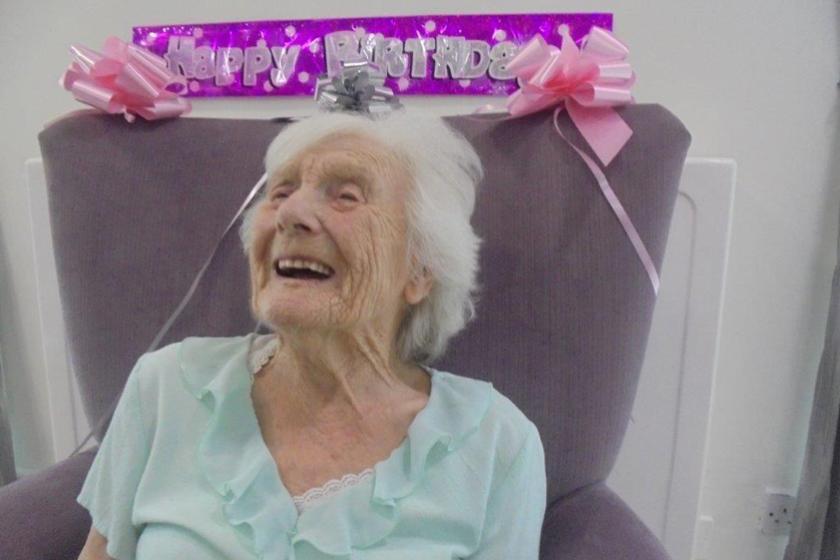 Hilda celebrating her 100th birthday