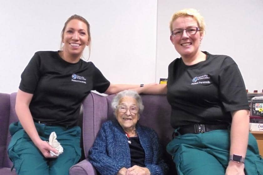 Student paramedics with Sanctuary Care resident