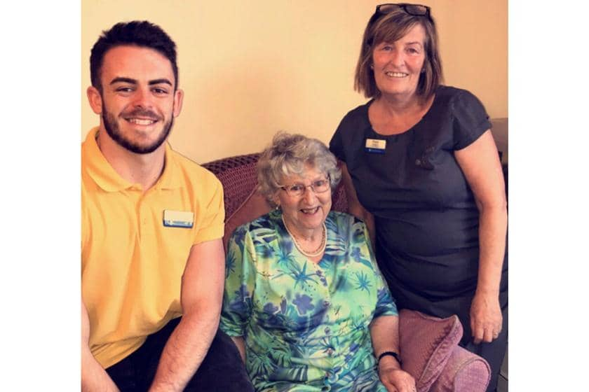 Jack with a Dalby Court resident and the Home Manager.