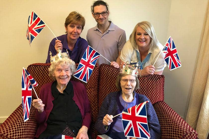 Back Row: Senior Care Assistant Maria Horton, Care Assistant Adam Guest, Administrator Teresa Williams. Front Row: Residents Florence Morris and Sylvia Denton