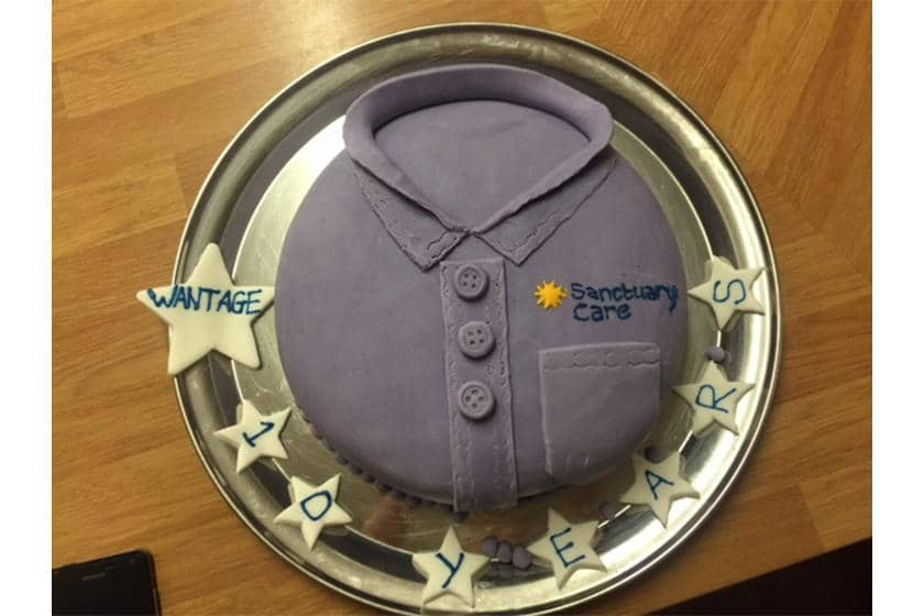 Cake celebrating Wantage Nursing Home's 10 years of care.