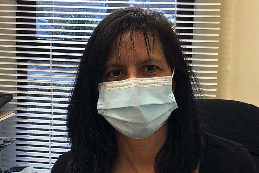 Care Home Manager Natali Edwards wearing a facemask