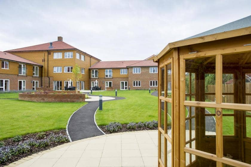 The view across the manicured gardens at Meadow View Residential Care Home.