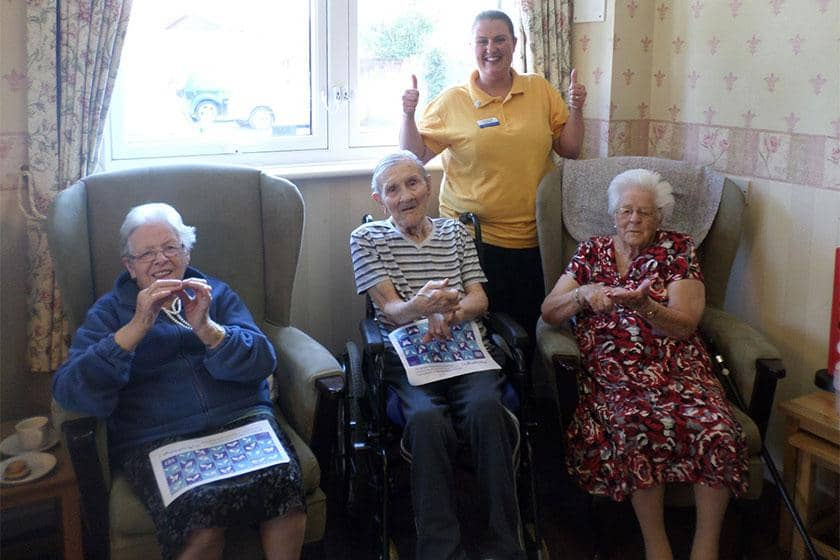 Residents Pat Clarke, Ronnie Andrews and Kay Hemmingway with activities leader Ann-Marie Greenhalgh.