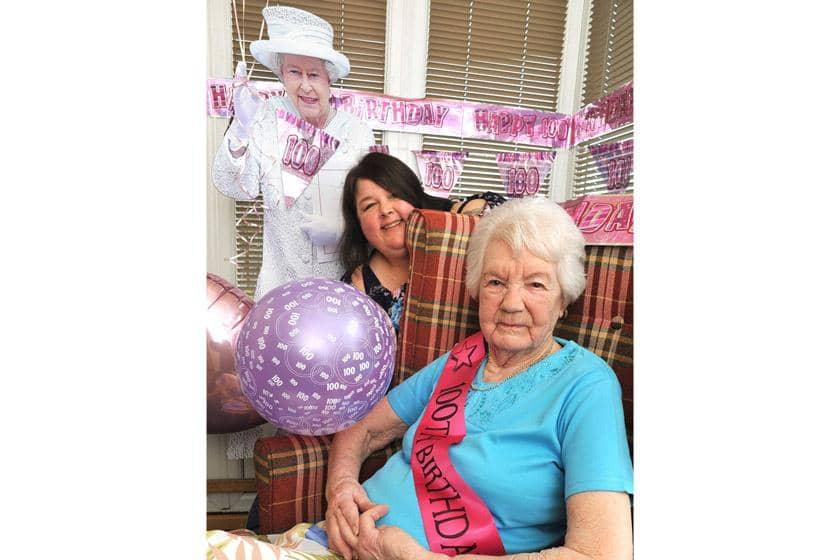 Resident Jenny Bridge and Senior Care Assistant Natalie Emms