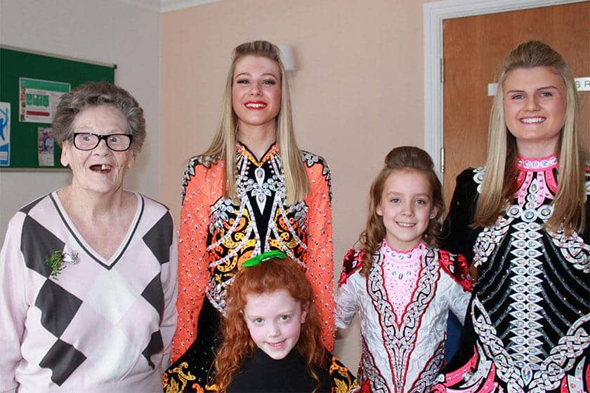 Resident Mary Carty, dancers Hannah Hunt, Freya Mullarkey, Ava McAllister and Millie Smekss.