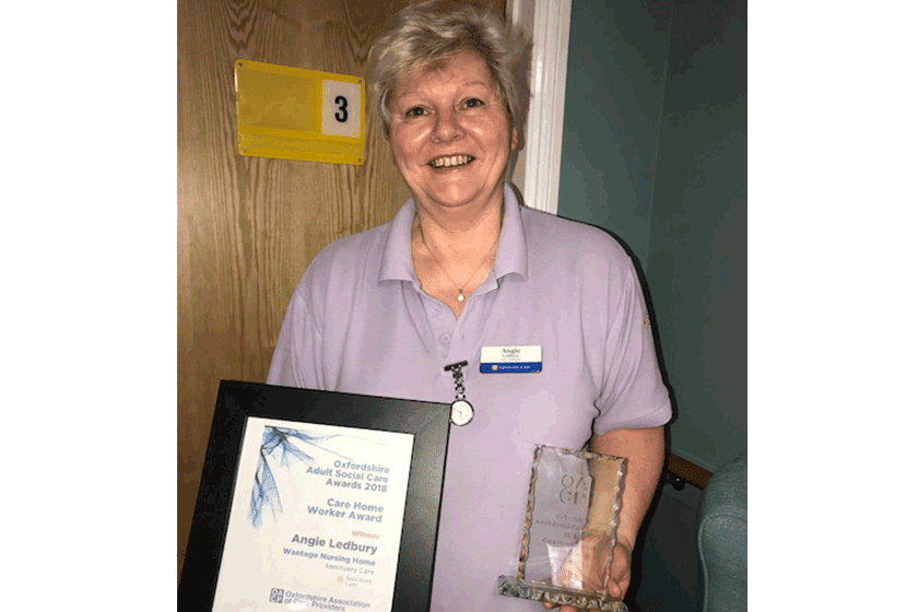 Angie Ledbury celebrates winning the Care Home Worker Award 2018.