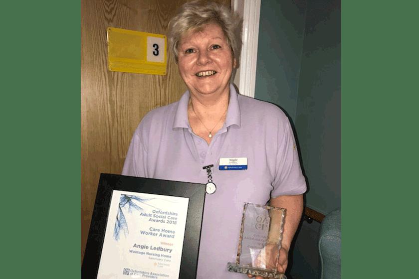 Angie Ledbury celebrates winning the Care Home Worker Award 2018.