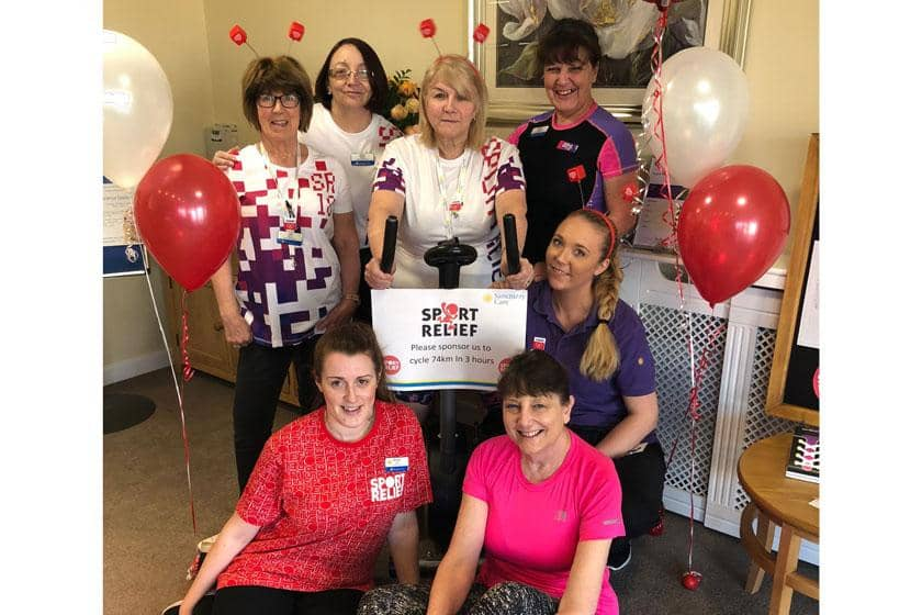 The Regent Care Home staff taking part in the Sport Relief challenge