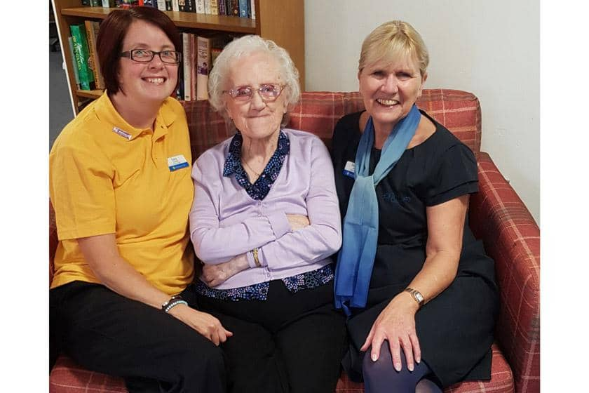 Lucy with a resident and colleague at Ivydene Residential and Nursing Home.