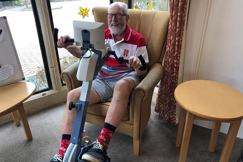 Tony Pryde, resident at Sanctuary Care home in Bridgwater, uses a specially adapted bike