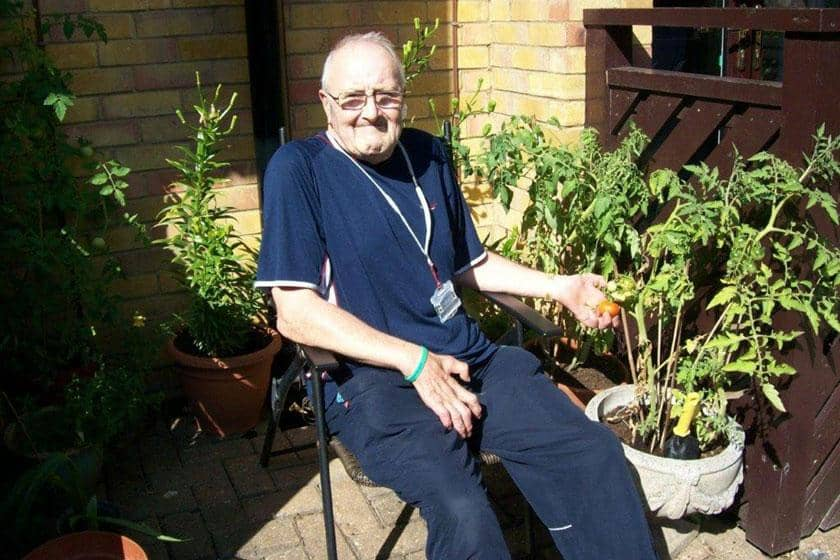 A resident taking part in the gardening therapy.