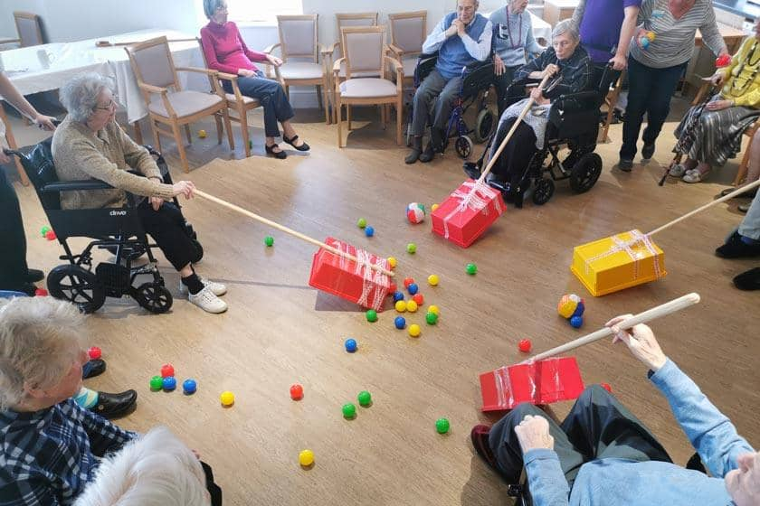 Residents playing Hungry Hippos