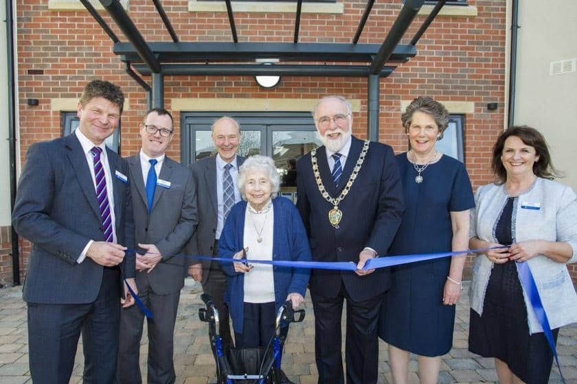 Chris Poole, Director of Business Development, Home manager Simon Doherty, Sanctuary Group Board member Dr Gareth Tuckwell, resident Vera Grant, Deputy Mayor of Wirral, Councillor Geoffrey Watt, his wife Anne and Director of Operations Sheila O'Connor.