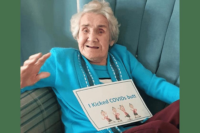 Agnes celebrates beating Covid-19