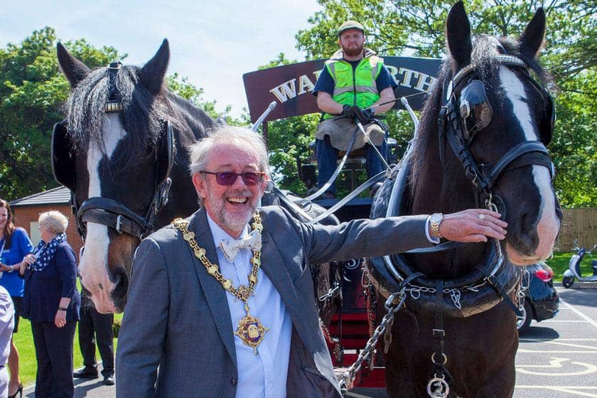 The Town Mayor outside the official opening of Briggs Lodge Residential and Nursing Home.