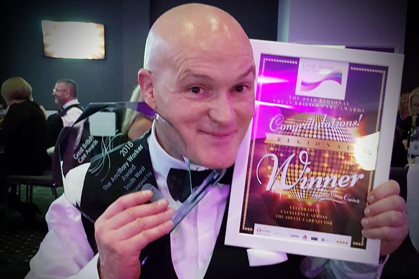 Andrew Morgan celebrates awards victory