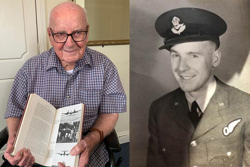 Arthur Steel, resident at Beach Lawns Residential and Nursing Home in Weston in his war days and today