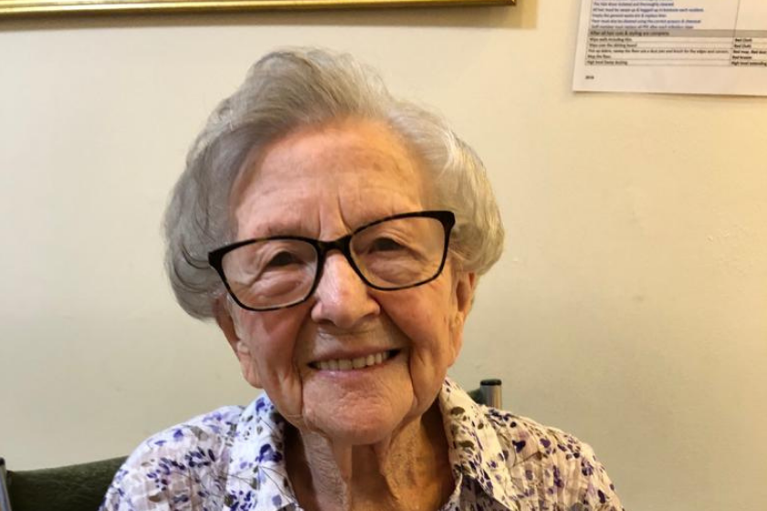 Resident, Blanche, is all smiles as she moves into Lammas House Residential care Home