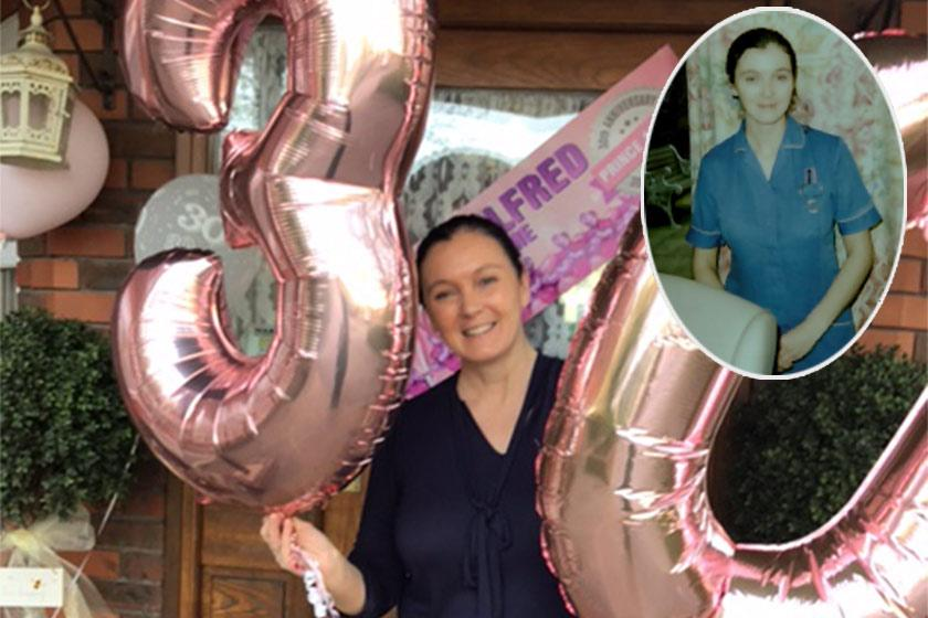 Carer, Cheryl, celebrates her 30th work anniversary with balloons. Inset Cheryl as a young carer in 1991