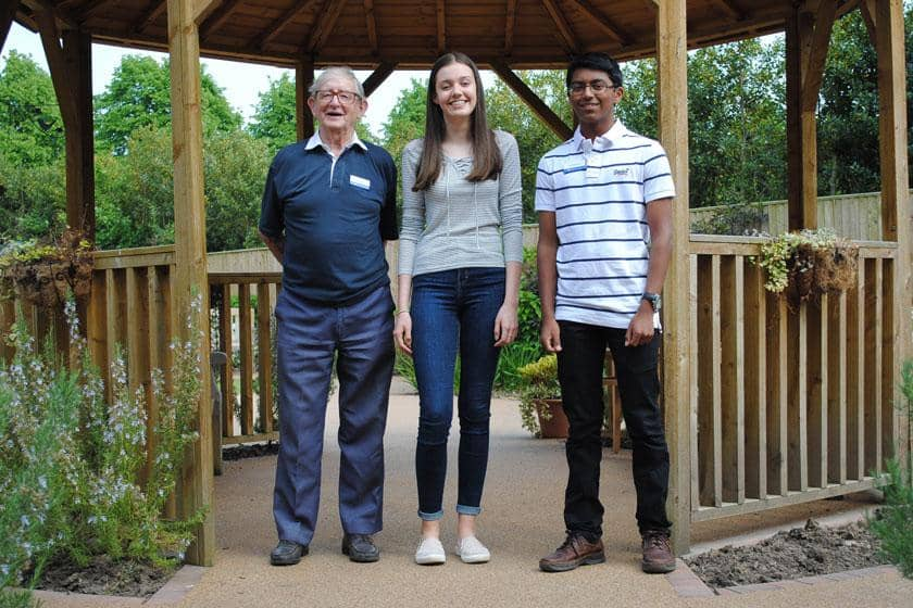 Three of Sanctuary Care's volunteers at Upton Dene Residential and Nursing Home