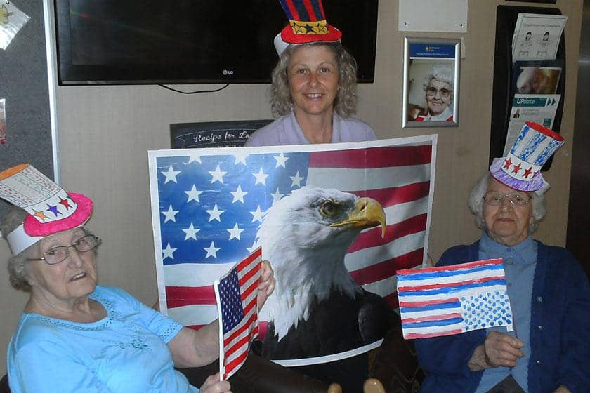 Residents in Bilston celebrating the Fourth of July.