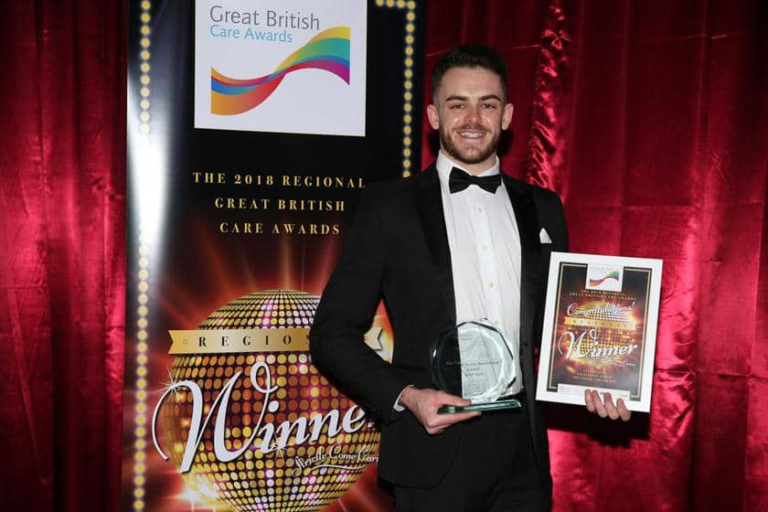 Jack with his accolade at the North East Great British Care Awards