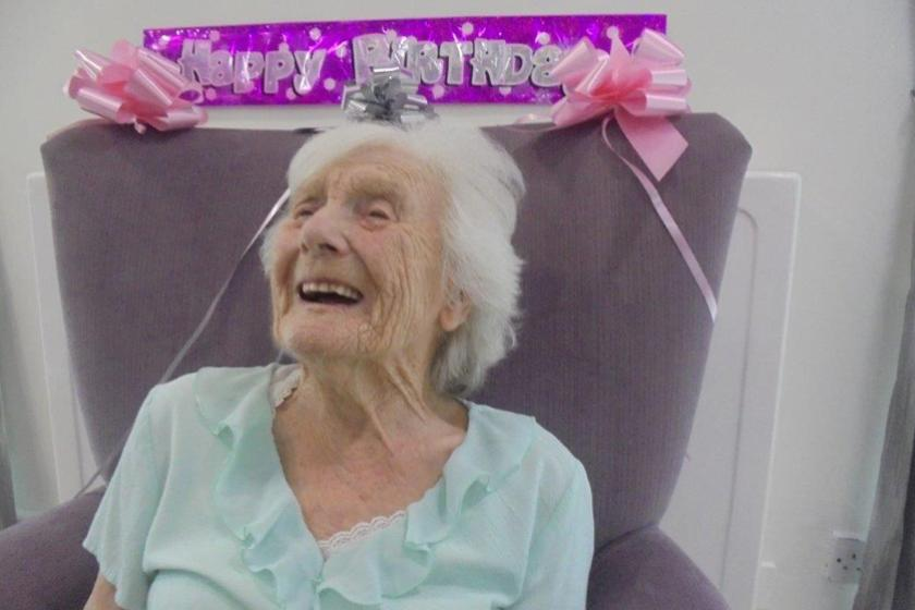 Hilda celebrating her 100th birthday
