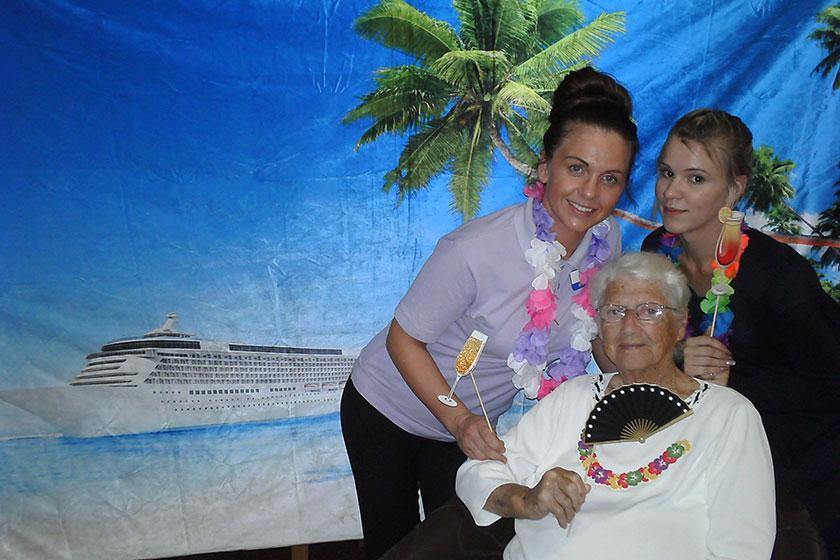 Resident and carers enjoying Cruise Week 2018