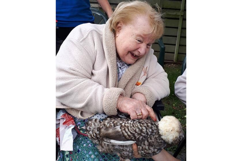 A Rowanweald resident with one of the animals.