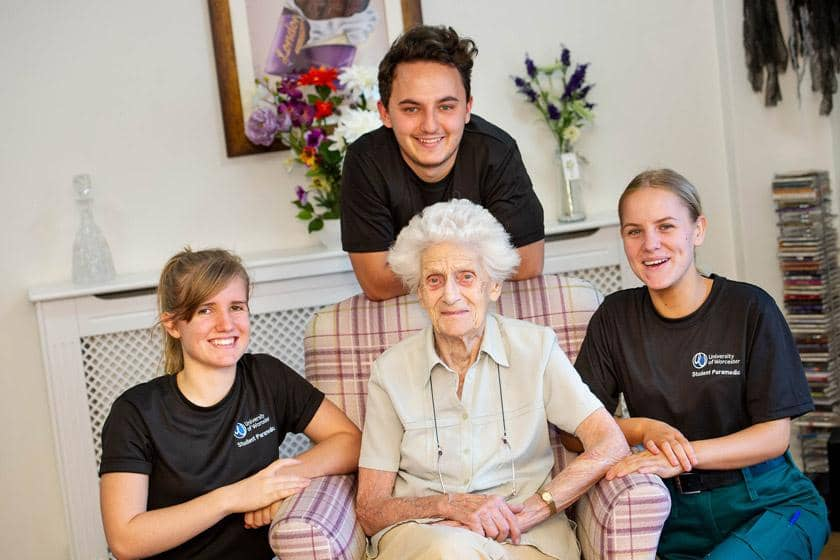 Student paramedics with one of our Sanctuary Care residents
