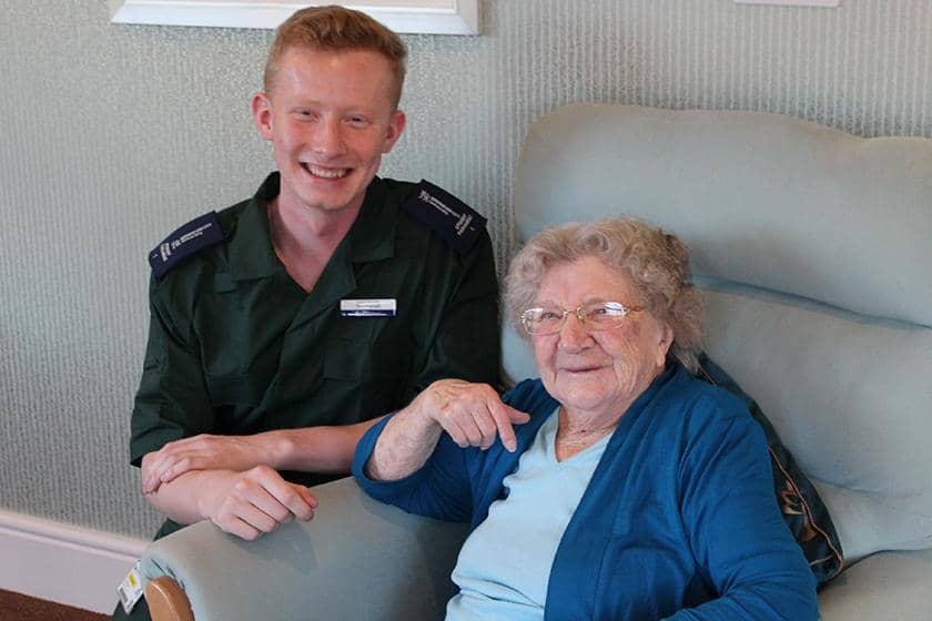 Student Tom Morrell and Castlecroft resident Muriel Webb
