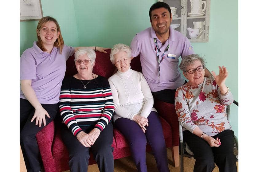 Staff and residents from Forefaulds Care Home