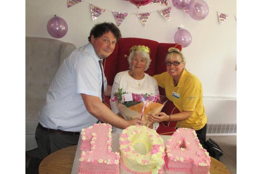 Ivy Flaherty celebrating her 104th birthday.