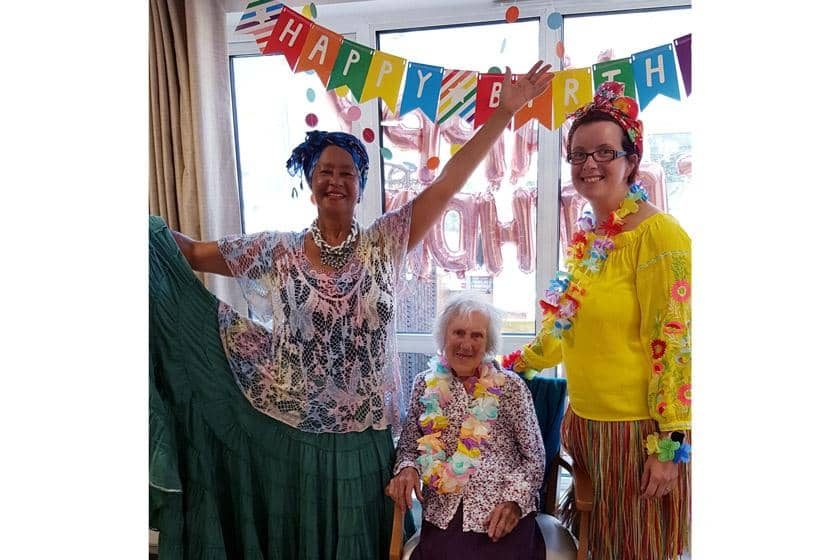 (L-R): Dance entertainer Rebecca Jeffery, resident Winnie Davies and Activities Leader Lucy Cassidy.