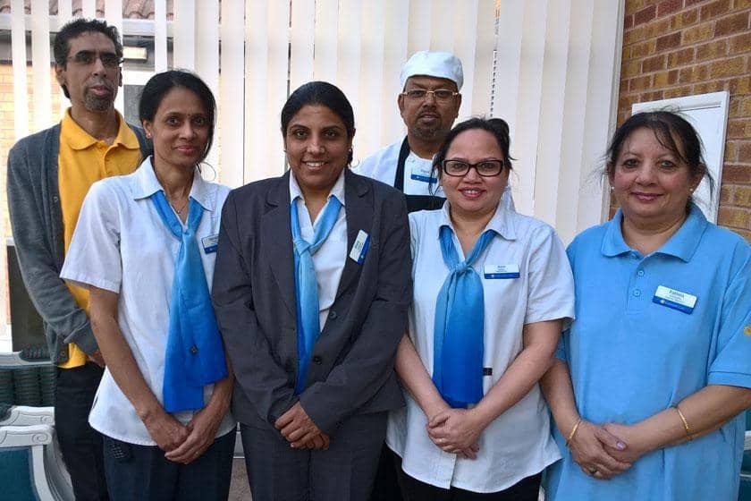 Left to right: Shabir Aswat, Jayvanti Patel, Dina Dasani, Dipak Das, Anu Jadav, Fatima Chatairia.