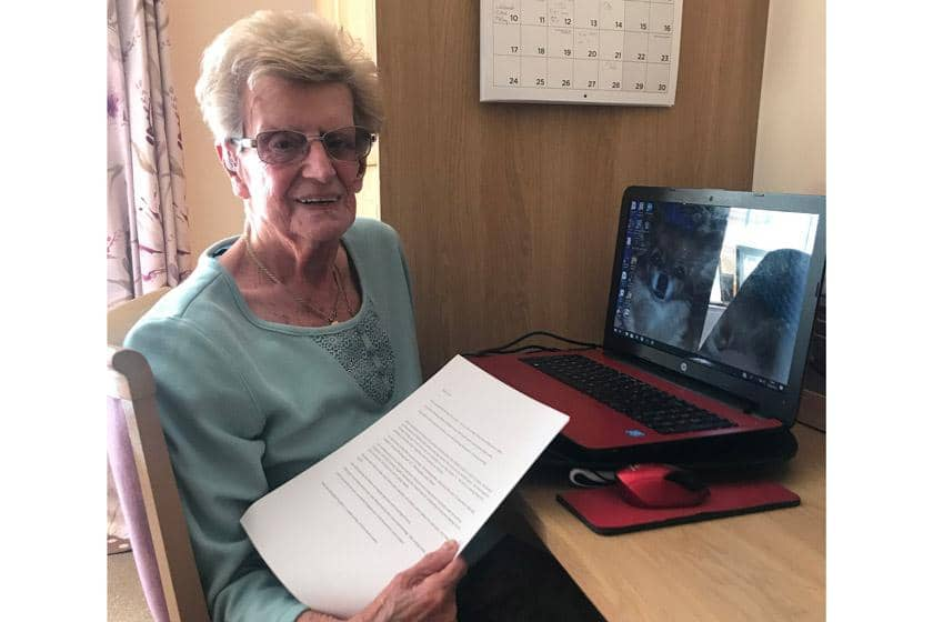June with one of the emails she has received.