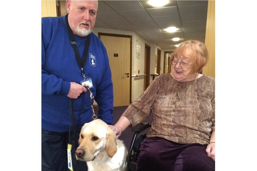 Alan Ellerby, his Guide Dog JB and resident Maureen Plumb.