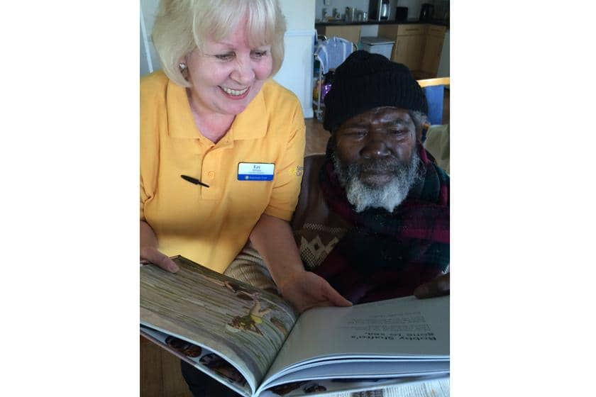 Activities leader Kay Wilson and resident Fernando Bryant