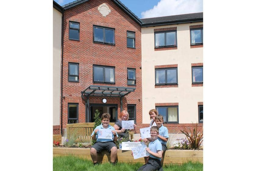 The Children outside Barony Lodge Care Home